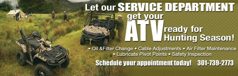 Let the Twigg Cycles Services Department get your ATV ready for Hunting Season