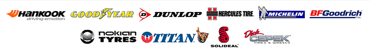 We carry products from Hankook, Goodyear, Dunlop, Hercules, Michelin®, BFGoodrich®, Nokian, Titan, Solideal, and Dick Cepek.