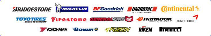 We carry products from Bridgestone, Michelin®, BFGoodrich®, Uniroyal®, Continental, Toyo, Firestone, General, Hankook, Kumho, Yokohama, Barum, Fuzion, Riken, and Pirelli.