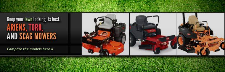 Ariens, Toro, and Scag Mowers: Click here to compare the models online.