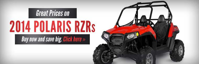 Get great prices on 2014 Polaris RZRs! Click here to view our selection.