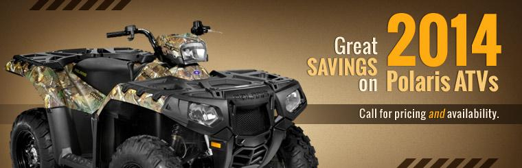 Great Savings on 2014 Polaris ATVs: Call 337-363-0461 for pricing and availability.