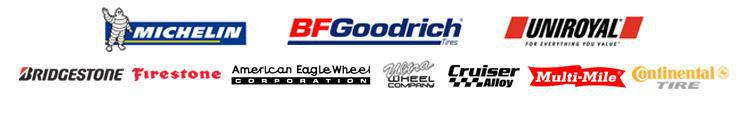 We carry products from Michelin®, BFGoodrich®, Uniroyal®, Bridgestone, Firestone, American Eagle, Ultra, Cruiser Alloy, Multi-Mile and Continental.