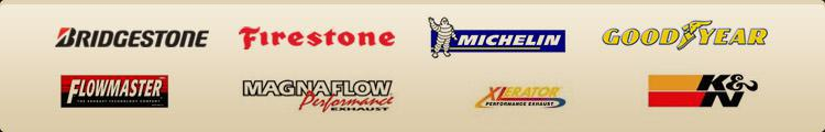 We carry products from Bridgestone, Firestone, Michelin®, Goodyear, Flowmaster, MagnaFlow, Xlerator, and K&N.