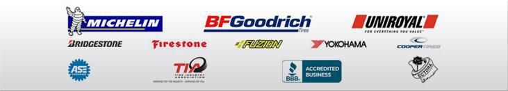 We carry products from Michelin®, BFGoodrich®, Uniroyal®, Bridgestone, Firestone, Fuzion, Yokohama, and Cooper.