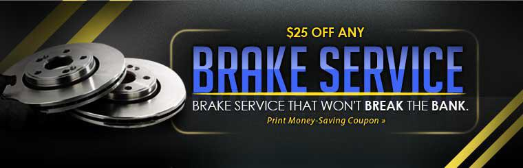 Get $25 off any brake service for service that won't break the bank! Click here for your coupon.