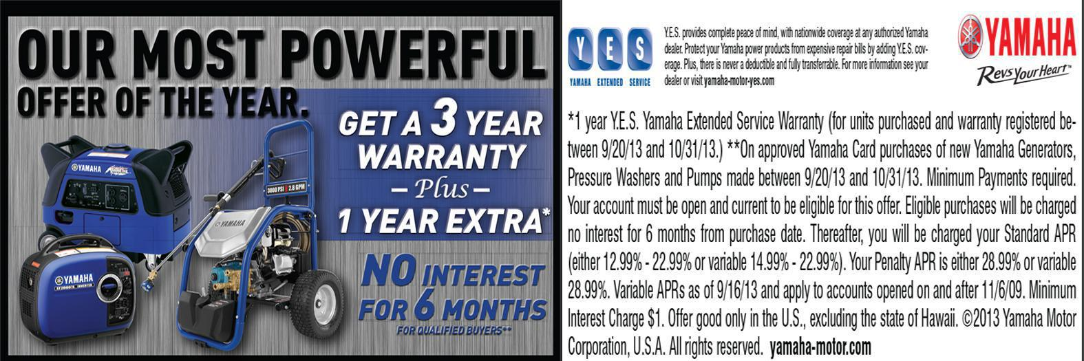 Yamaha Power Washer 3 year warranty