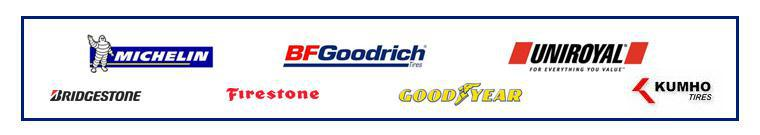 We proudly carry Michelin®, BFGoodrich®, Uniroyal®, Bridgestone, Firestone, Goodyear, and Kumho.
