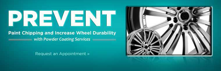 Prevent paint chipping and increase wheel durability with powder coating services! Click here to request an appointment.