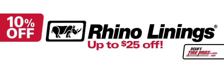 Get 10% off Rhino Linings spray system installation! Click here to print the coupon.