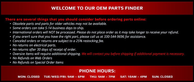 Welcome to our OEM Parts Finder.