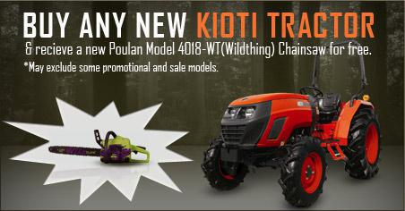 Buy any new Kioti tractor & receive a new Poulan Model 4018-WT (Wildthing) Chainsaw for free.