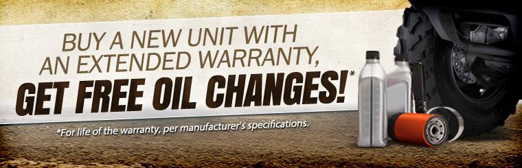 Buy a new unit with an extended warranty and get free oil changes for life of the warranty, per manufacturer's specifications. Click here to browse our showcase.