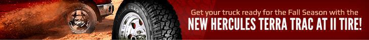 Get your truck ready for the fall season with the new Hercules Terra Trac AT II Tire!