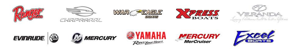 We carry products from Ranger Boats, Chaparral, War Eagle, Xpress, Veranda, Excel Boats, Evinrude, Mercury Outboards, Yamaha Outboards, and Mercury MerCruiser.