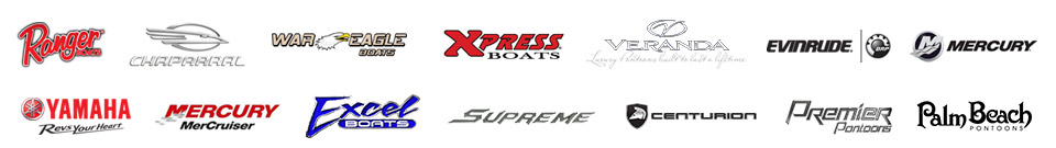 We carry products from Ranger Boats, Chaparral, War Eagle, Xpress, Veranda, Excel Boats, Evinrude, Mercury Outboards, Yamaha Outboards, Mercury MerCruiser, Centurion, Supreme, Premier, and Palm Beach.