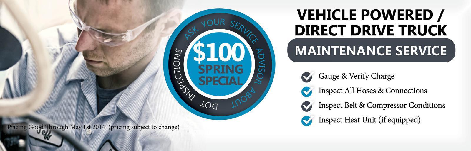 Vehicle Powered / Direct Drive Truck Maintenance Service Special : $100 Standard Maint.