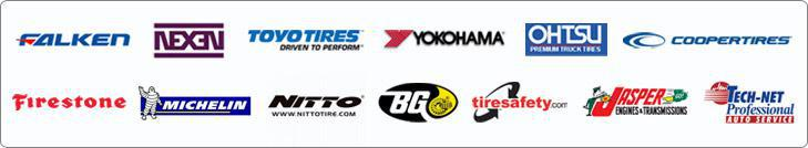 Falken, Nexen, Toyo, Yokohama, Ohtsu, Cooper, Firestone, Michelin®, Nitto, BG, Tiresafety, Jasper, and Tech-Net.