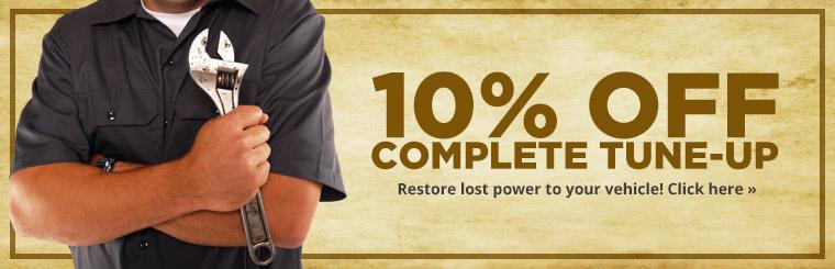 Restore lost power to your vehicle with a complete tune-up. Click here for a coupon to receive 10% off.