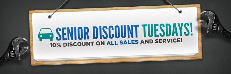 Get a 10% discount off sales and service for seniors on Senior Discount Tuesday! Click here to print your coupon.
