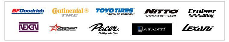 We proudly offer products from: American Racing, Asanti, Toyo, Nitto, Lexani, Cruiser Alloy, Nexen, BFGoodrich®, Continental, and Pacer.
