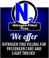 We offer Nitrogen tire filling for passenger cars and light trucks!