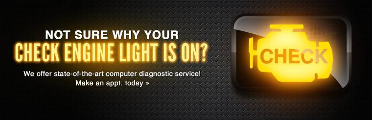 Not sure why your Check Engine light is on? We offer state-of-the-art computer diagnostic service! Click here to make an appointment today.