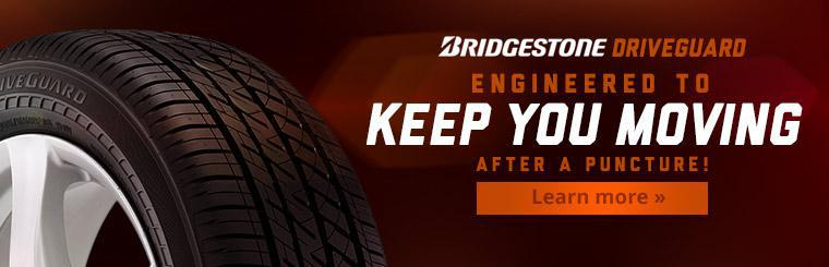 The Bridgestone DriveGuard is engineered to keep you moving after a puncture. Click here to learn more.