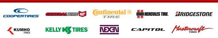 We carry products from Cooper, General, Continental, Hercules, Bridgestone, Kumho, Kelly, Nexen, Capitol, and Mastercraft.