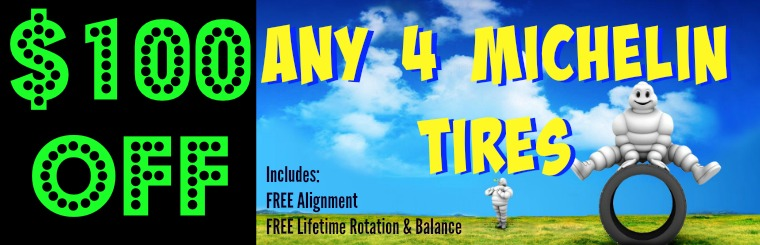 100 Off Any 4 Michelin Tires