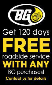 Get 120 days free roadside service with any BG purchases! Contact us for details.