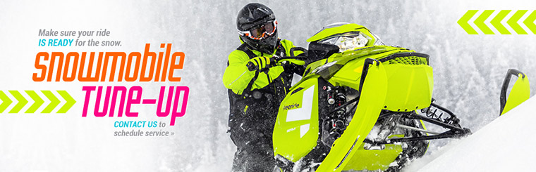 Make sure your ride is ready for the snow. We offer snowmobile tune-ups. Contact us to schedule service.