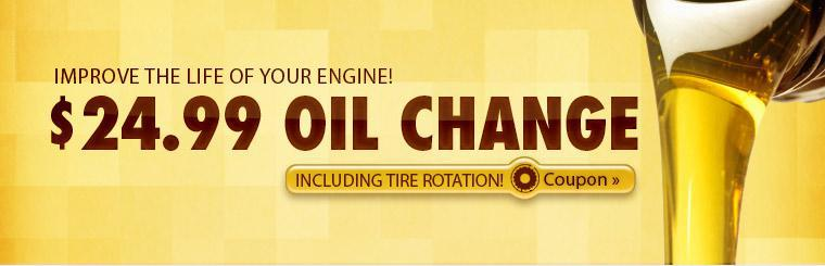 Get an oil change and tire rotation for only $24.99! Click here for a coupon.