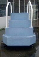 blue wedding cake pool steps