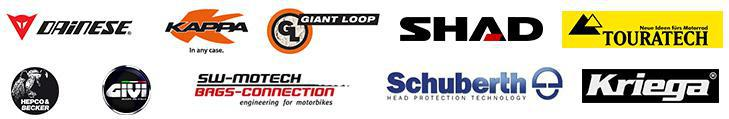 We are proud to feature products from Dianese, Kappa, Giant Loop, Shad, Touratech, Hepco & Becker, Givi, SW-Mototech, Schuberth and Kriega!