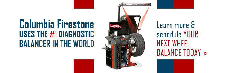 Columbia Firestone uses the #1 diagnostic balancer in the world. Click here to learn more and schedule your next wheel balance today.