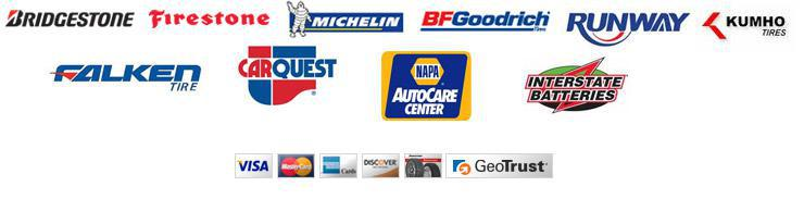 We proudly carry products from Bridgestone, Firestone, Michelin®, BFGoodrich®, Runway, Kumho, Falken, CarQuest, Napa, and Insterstate Batteries.  We accept Visa, MasterCard, American Express, Discover, and Bridgestone.  Our site is secured by GeoTrust.