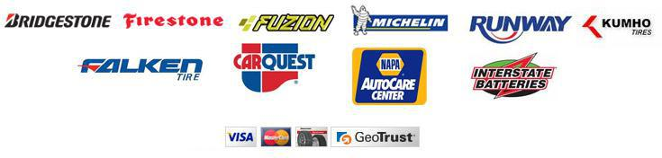 We proudly carry products from Bridgestone, Firestone, Fuzion, Michelin®, Runway, Kumho, Falken, CarQuest, Napa, and Insterstate Batteries.  We accept Visa, MasterCard, and Bridgestone.  Our site is secured by GeoTrust.