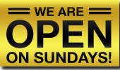We are open on Sundays!
