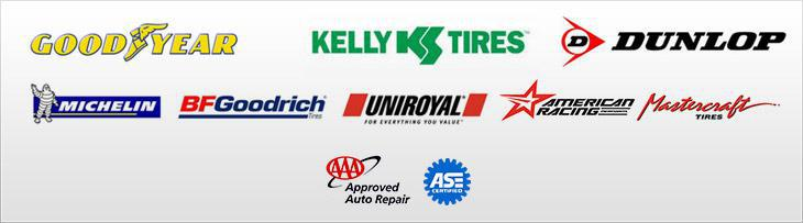 We proudly offer products from Goodyear, Kelly Tires, Dunlop, Michelin®, BFGoodrich®, Uniroyal®, American Racing, and Mastercraft Tires. We accept AAA. We are ASE certified.