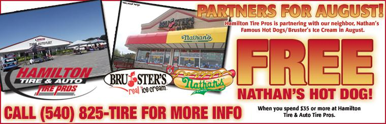 Free Nathan's Hot Dog With $35 Purchase from Hamilton Tire Pros