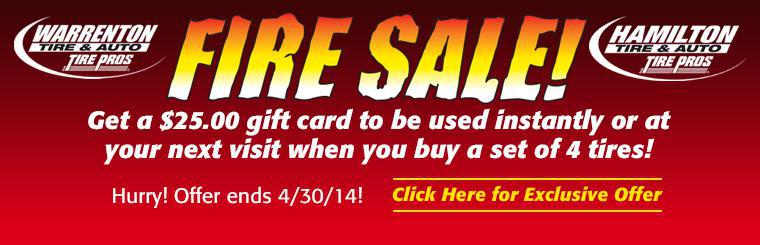$25.00 Gift Card With the Purchase of 4 Tires!  Click here for coupon.