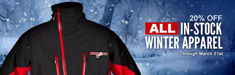 Get 20% off all in-stock winter apparel through March 31st! Contact us for details.