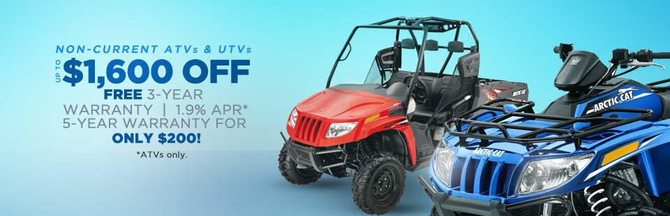 Non-Current ATVs & UTVs: Get up to $1,600 off, a free 3-year warranty, 1.9% APR (ATVs only), and a 5-year warranty for only $200!