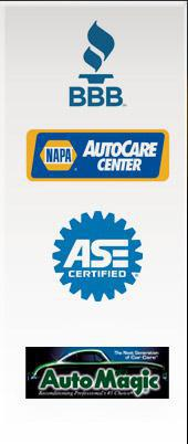 We are affiliated with the BBB. Our technicians are ASE certified. We are a NAPA AutoCare Center location. We use Auto Magic auto detailing products.