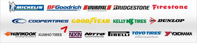 We carry products from Michelin®, BFGoodrich®, Uniroyal®, Bridgestone, Firestone, Cooper, Goodyear, Kelly, Dunlop, Hankook, Kumho, Nexen, Nitto, Pirelli, Toyo, and Yokohama.