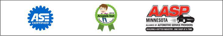Our technicians are ASE certified. We received the Super Service Award from Angie's List in 2011. We are affiliated with the  Alliance of Automotive Service Providers.