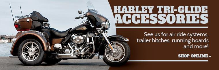 Harley Tri-Glide Accessories: See us for air ride systems, trailer hitches, running boards and more! Click here to shop online.