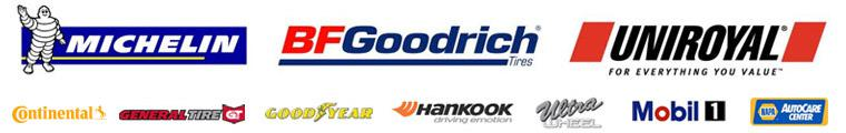 We proudly carry products from Michelin®, BFGoodrich®, Continental, General, Goodyear, Hankook, Ultra Wheel, Mobil 1, and NAPA.
