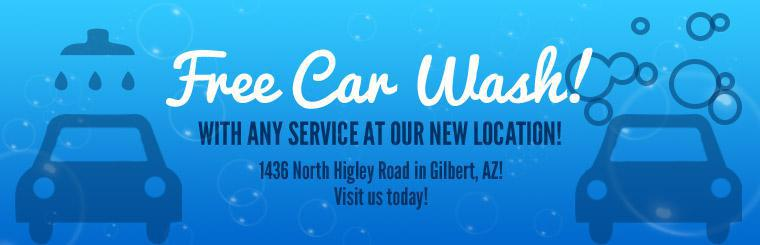 Get a free car wash with any service at our new location!